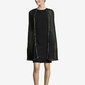 Betsy Adam Rich Women's Beaded-Cape Sheath Dress B